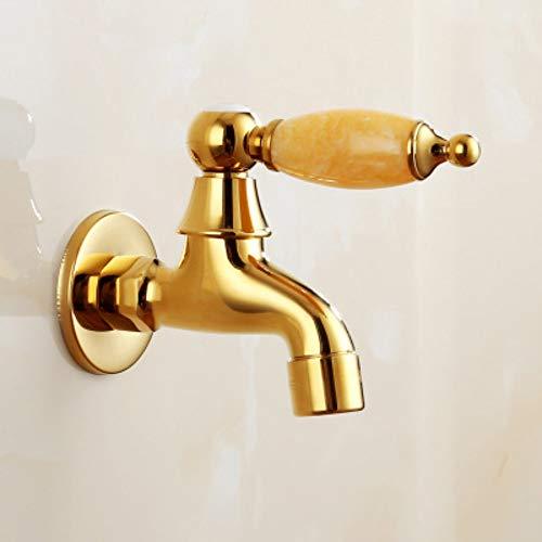 PajCzh wastafel wastafel kranen natuurlijke jade goud koper hoofdlichaam wasmachine kraan dweil zwembad snel open enkele koude kleine kraan in de muur A