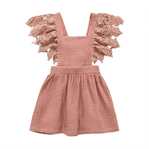 Girls Cute Dress Infant Kid Baby Sleeveless Lace Floral Solid Princess Dress Clothing,for Special Occasion(Pink,12-18 Months)