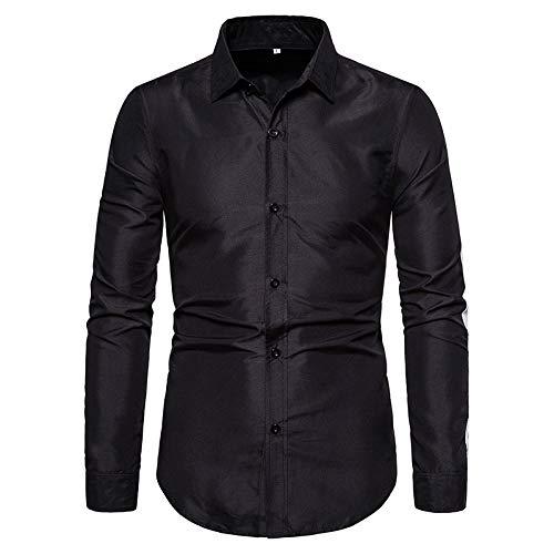 Camisa de Vestir de Manga Larga para Hombre, Liso, slido, Ajustado, Dobladillo Irregular, Informal, de Negocios, Formal, con Botones M