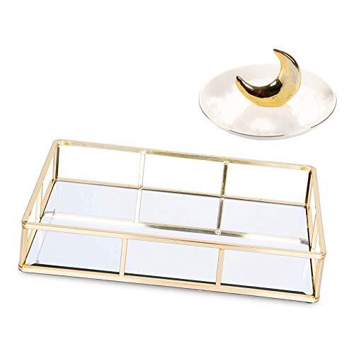 CBY CASA bandeja dorada, bandeja de espejo, bandeja de perfume, bandeja de aparador, bandeja de espejo de 30 x 18 cm, bandeja rectangular dorada con plato de cerámica