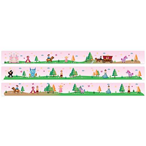 Wandkings Bordüre - Wähle ein Motiv - Prinzessinnen Welt - 3x selbstklebende Wandbordüren je 150 cm - Gesamtlänge: 450 cm - Höhe: 12,5 cm