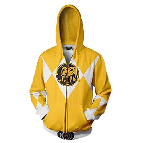 Power Ranger Pullover Trendy Studenten Mantel Langarm-T-Shirt loser beiläufiger wilder Oberbekleidung Frühling und Herbst Fashion College Wind Pullover Jacke Klassische dünne Persönlichkeit Zipper dün