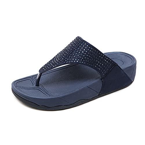 AGLOAT Zapatillas casuales de las mujeres transfronterizas pendientes talón rhinestone plataforma de gran tamaño chanclas zapatos de las mujeres al por mayor, Negro-39