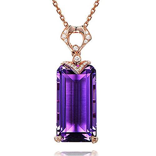 Collares con colgante de piedras preciosas de amatista para mujer, joyería fina de compromiso de boda, collar de plata de ley 925
