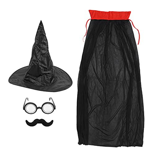 Sonew Decoración de Disfraces de Mago, Capa + Sombrero + Bigote Falso + Gafas, Accesorios de Fiesta Pirata para Fiesta Pirata Cosplay Vestido Elegante caribeño