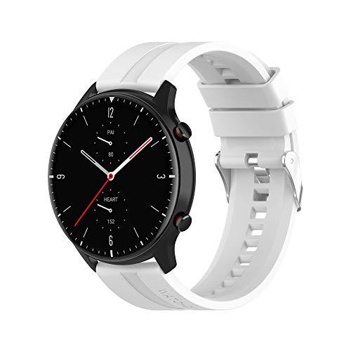 BoLuo 20mm Silicona Correa Compatible con Galaxy Watch 3 41mm,Correas Reloj,Bandas Correa Repuesto,Reloj Recambio Brazalete Correa Repuesto para Galaxy Watch Active 1 40mm/Active 2 40MM/42MM (blanco)