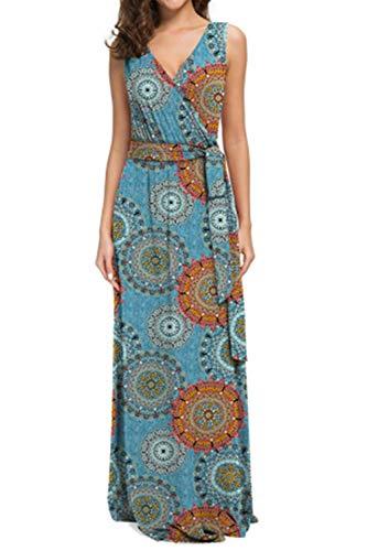 MXIU Womens Popular Largr Size V Neck Chiffon Holiday Floral Print Sleeveless Ladies Summer Beach Party Dress Blue