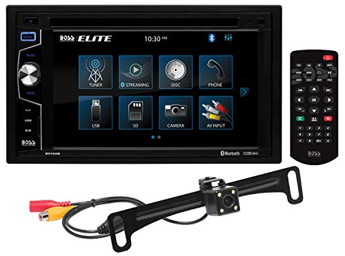 BOSS Audio Systems Elite BV755BLC Car DVD Player with Rearview Backup Camera - Double Din, Bluetooth Audio/Calling, 6.2 Inch LCD Touchscreen, MP3/CD/DVD/USB/SD, Aux Input, AM/FM Radio Receiver