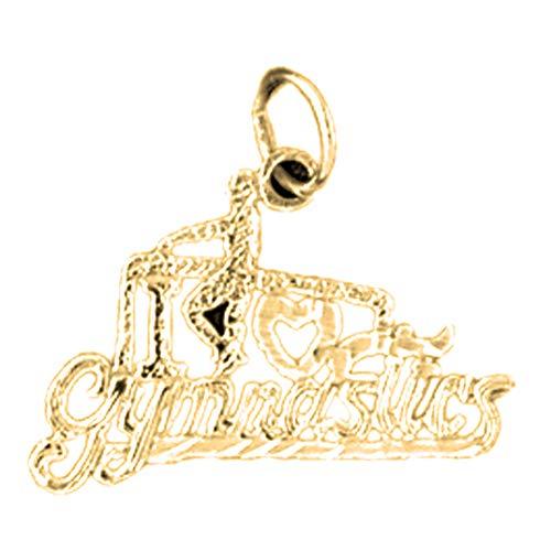 Jewels Obsession 14 Karat Gelbgold I Love Gymnastics Anhänger – 18 mm