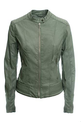 Jophy & Co - Chaqueta corta - Confeccionada en piel ecológica - Chaqueta de mujer con bolsillos, cremalleras y cuello mao - Modelo n. 8820 Militar XL