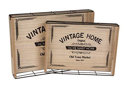 Vassoio con scritta 'Vintage Home', in legno e metallo, set da 2 pezzi, circa 34 x 24,8 cm e 28 x 20 cm