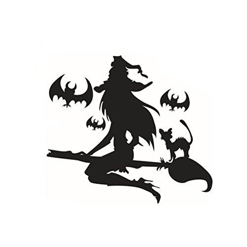 ABOOFAN Wandtattoo, Motiv: Happy Halloween Hexe und Fledermäuse