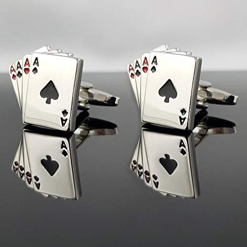 Herren Manschettenknöpfe Poker vier Asse - SILBER - Pokerkarte Blackjack Romme Skat Quartett Mau Mau Kartenspiel Card Karten Spielkarte 4 - MIND CARE ESSENTIALS