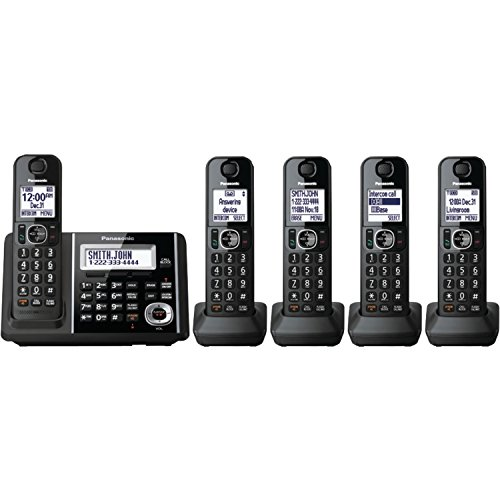 Panasonic Cordless Phone System with Answering Machine, One-Touch Call Block, Enhanced Noise Reduction, Talking Caller ID and Baby Monitor - 5 Handsets - KX-TGF345B (Black)