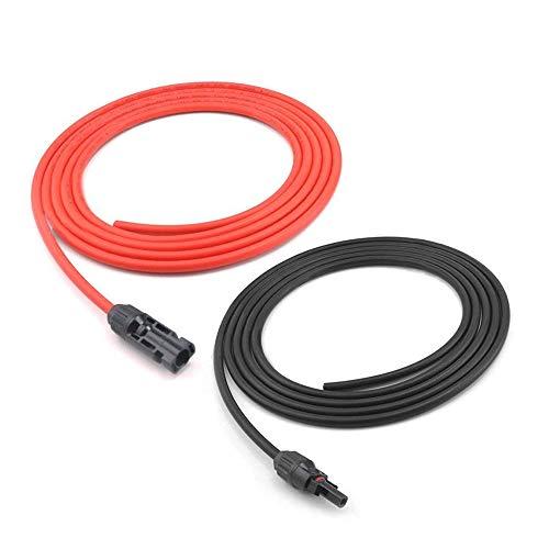 Magiin 1 Paire 10ft/3m 10AWG Câble d'Extension Solaire avec MC4 Connecteur Adaptateur Rallonge Connecteur de Panneau Solaire pour Photovoltaïque Panneau Solaire