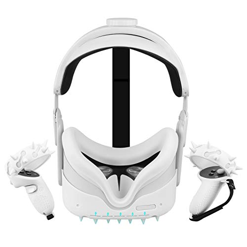 Accesorios Oculus Quest 2 (Cubierta Protectora de la Cabeza + Cubiertas de los Agarres de los Controladores+Cubierta Facial, etc.), Cubierta Impermeable Antichoque Antideslizante,Toque Cómodo