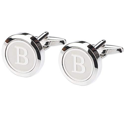 Dannyshi Mens Classic Stainless Steel Initial Cufflinks 26 Alphabet Initial Letter Cufflinks Business Wedding Shirts A-Z (B)