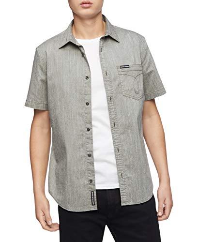 Calvin Klein Short Sleeve Nebraska Plaid Button Down Shirt Camisa de Vestir para Hombre