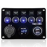 CT-CARID 5 Gang interrupteur à bascule Panneau, USB Double Socket chargeur 12V prise d'alimentation LED Voltmètre pour la voiture pour bateaux Marine RV camions Véhicules Camper (Bleu)