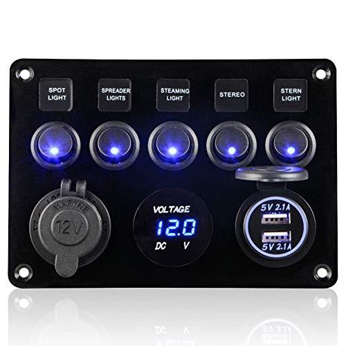 CT-Carid - Pannello con interruttori a pulsante, 12-24 V, 5 uscite, doppia presa USB, caricabatteria, voltmetro a LED, presa di alimentazione 12 V, per auto, barca, camper e camion