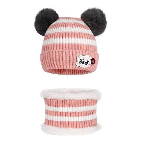 MaoXinTek Gorro de Bebé Invierno Lindo Gorro de Punto Cálido con Bufanda para Niños Niña 3-24 Meses Rosado