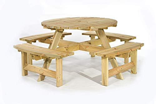 BrackenStyle Picnic Pub Bench 8 Seater Round Wooden Garden Patio Table Thick Timbers