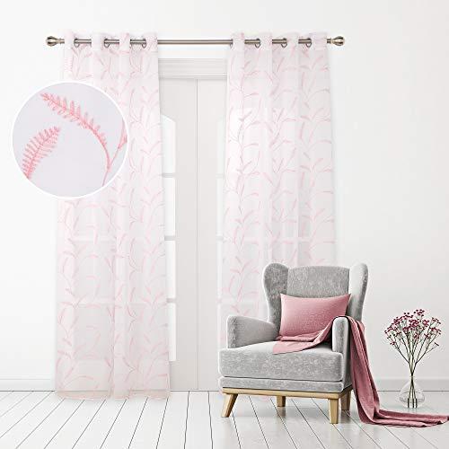 Deconovo Cortinas Visillos para Ventana Cortina Traslúcida Decorativo con Ollaos para Salón Oficina 2 Piezas 140 x 290 cm Rosa