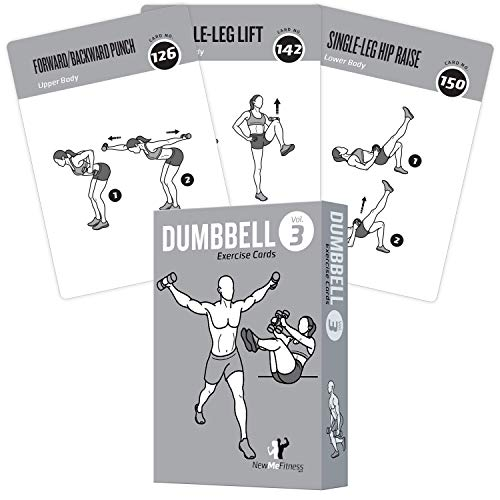 "Exercise Cards Dumbbell Home Gym Strength Training Building Muscle Total Body Fitness Guide Workout Routines Bodybuilding Personal Trainer Large Waterproof Plastic 3.5""x5"" Burn Fat (3.5'x5', Vol 3)"