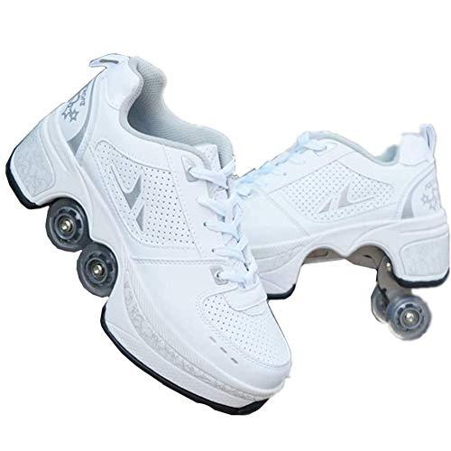 Fbestxie Roller Skates, verstellbar, Inlineskates für Kinder, vier Rollen, Mädchen, Schuhe mit Rollen, Deform Wheels Skates Kick Roller Shoe, Walking Skates Männer Frauen, Weiß - weiß - Größe: 42 EU