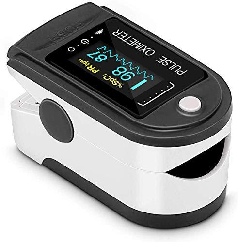 Oxímetro de pulso, monitor de oxígeno Monitor de ritmo cardíaco de dedo Monitor de saturación de oxígeno para adultos y niños con pantalla OLED omnidireccional
