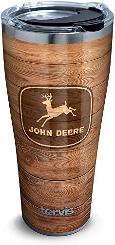 Tervis John Deere 1354729 Isolierbecher mit Holzmaserung, Edelstahl, mit transparentem und schwarzem Hammerdeckel, silberfarben