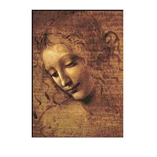 QSCTYG Cuadros Decoracion Leonardo da Vinci Head's Head Canvas Pintura Classic Pósters e Impresiones Arte de la Pared Imágenes para la Sala de Estar Decoración de la casa 882
