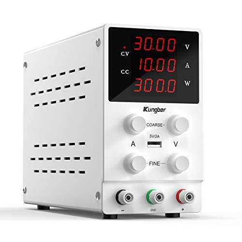 Kungber Labornetzgerät 0-30V / 0-10A, DC Regelbar Netzgerät mit 4-stelliger LED-Anzeige, Labornetzteil Netzteil Strommessgeräte, Überlast- & Kurzschlussfest (Weiß)