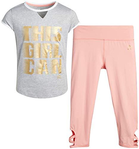 RBX Girl's Capri Legging Set - Fashion Short Sleeve T-Shirt and Athletic Performance Yoga Pants (Heather Grey/Peach, 7/8)'