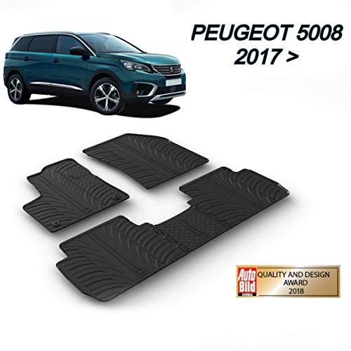 MYD Lot de tapis de sol en caoutchouc pour Peugeot 5008 05.2017>   Tapis de sol en caoutchouc sans odeur pour conduite à gauche pour toutes les saisons (avant et arrière), protection résistante (noir)