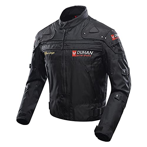 Motorcycle Jacket Motorbike Riding Jacket Windproof Motorcycle Full Body Protective Gear Armor Autumn Winter Moto Clothing (Black, XL)