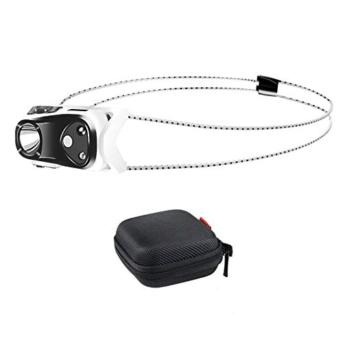 Mini Rechargeable Headlamp Flashlight with Carrying Case, COSOOS Bright LED Headlamp with Red Light, Running Headlamp for Adults, Kids, Camping, Night Jogging, Reading, 1.3oz/38g with Lithium Battery