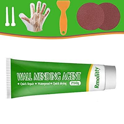 Wall Mending Agent, Drywall Patch Repair Kit with 8.8 oz, Self-Adhesive Patch, Quick & Easy Solution to Fill The Holes and Crack in Your Walls, Wood & Plaster (White/250g)