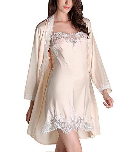 Bata De Seda para Mujer Vintage Vestido con De Noche Pijama Largo De Encaje Camisón Pijama De Dos Piezas Noche Cálida SH (Color : Champagner, Size : M)
