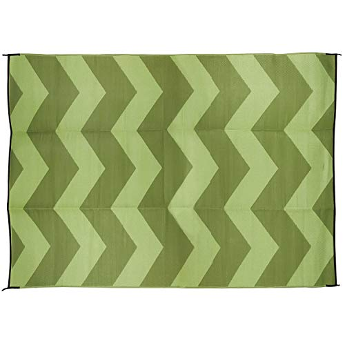 Camco Large Reversible Outdoor Patio Mat - Mold and Mildew Resistant, Easy to Clean, Perfect for Picnics, Cookouts, Camping, and The Beach (6' x 9', Chevron Green Design) (42879)
