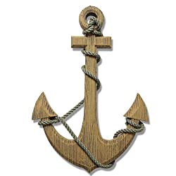 Adeco Wooden Boat Anchor with Crossbar, Steering Wheel, Décor Home Wall Decor, Light Brown
