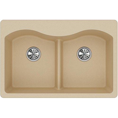 Elkay Quartz Classic ELGLB3322SD0 Sand Equal Double Bowl Top Mount Sink