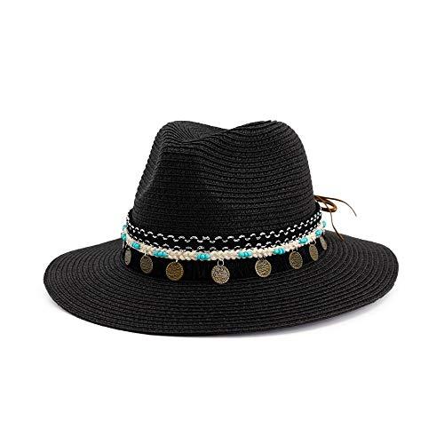 Wintermütze und Hut aus Stroh, Western-Cowboy-Hut, aufrollbare Krempe, Sonnenhüte, Sommer, Strand, Sombrero, Hombre Rettungsschwimmer, Jazz-Hüte (Farbe: Hellkhaki, Größe: 56–58 cm)