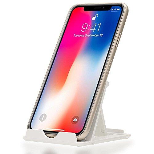 NALIA Handy Halterung Universal Stander Multi Winkel Verstellbar Kick Stand Faltbar mit Gummi Fusen fur Smartphones und Tablets zB kompatibel mit iPhone kompatibel mit Samsung FarbeWeis