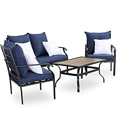 PatioFestival Patio Conversation Set 4 Pieces Metal Outdoor Furniture Sets with Thick Cushions Pillows Galvanized Steel Frame (Blue)