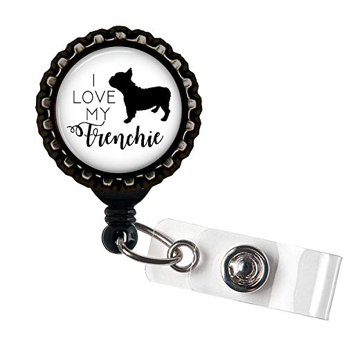 Frenchie Black Resin Retractable Badge Reel ID Holder