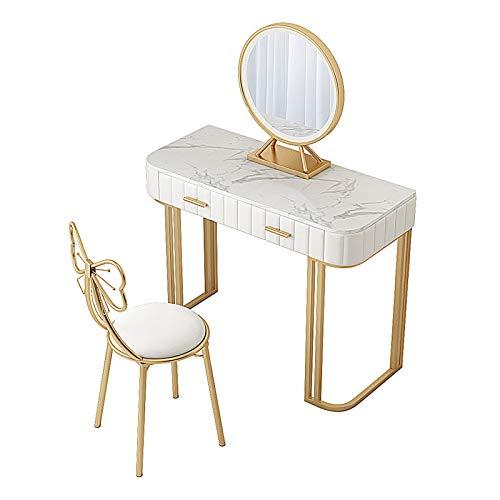 Coiffeuses de Chambre à Coucher - Dessus de Table en marbre - Table de Maquillage avec lumières LED Miroir Coiffeuse Blanche avec Tabouret rembourré et 2 tiroirs cosmétiques