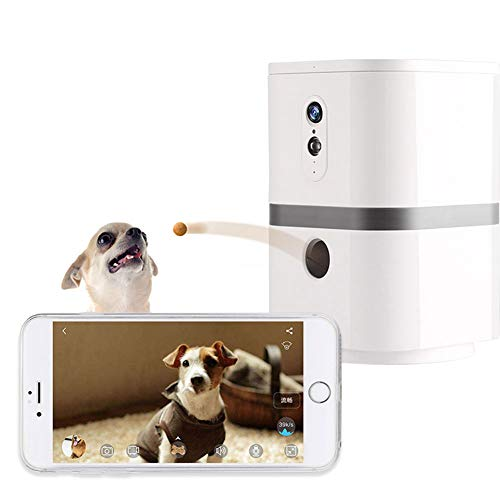 YUNDING Wi-Fi Haustierkamera 1080p HD-Video 200 ° drehbar Spender behandeln 2-Wege-Audio-Nachtsicht Haustier-Monitor Unterstützung für drahtloses Laden, zum Hunde und Katzen