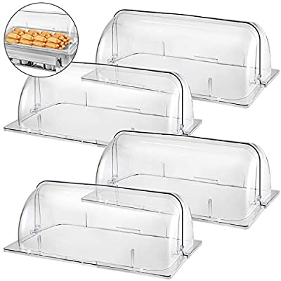 "Mophorn 4 Packs Chafing Dish Cover Clear 21""x13""x17"" Full Size Roll Top Chafing Dish Clear Plastic Bakery Pan Display Cover"