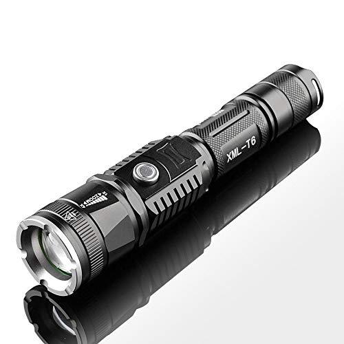 Dyna-Living - Linterna LED potente recargable, 3000 lm, linterna LED con zoom ultra potente, linterna de bolsillo con 5 modos de iluminación